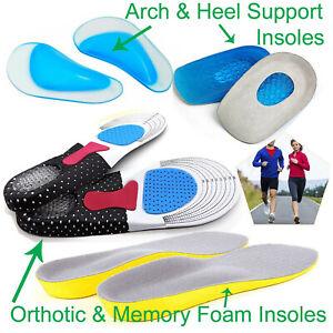 Orthopaedic Insoles Orthotic Memory Foam Shoe Pads Trainer Soft Feet Comfort Gel
