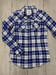 Women's CREW CLOTHING Western Check Long Sleeve Shirt Top   Size 6