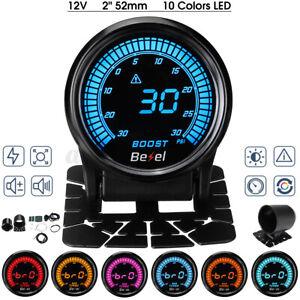 Ø 52mm Jauge de Pression Turbo Boost Manomètre LED 7 couleurs Capteur -30~30 PSI