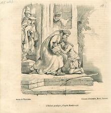 Le Retour du fils prodigue Terugkeer van de Verloren Zoon Rembrandt GRAVURE 1838