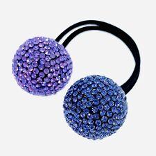 USA Hair Rope Wrap use Swarovski Crystal Ball Hairpin Ponytail Holder Purple #3