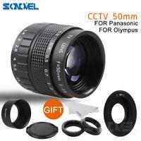 FUJIAN 50mm f/1.4 C Mount CCTV f1.4 Lens+Lens Hood+Macro Ring for Micro 4/3 M4/3
