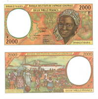 CENTRAL AFRICAN REPUBLIC 2000 Central African Francs (1999) P-303F UNC Banknote