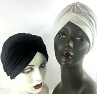 Turban Vtg Set 2 Black White Pleat Hat Nylon Head Wrap Silky Comfy Chemo New O/S