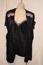3 piece set Linea Donatella Chemise babydoll nightie Thong black Large L robe