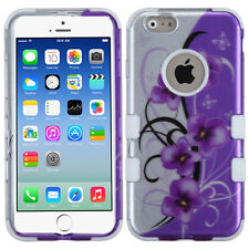 Apple iPhone 6 / 6s IMPACT TUFF HYBRID Case Skin Covers 2D Twilight Petunias
