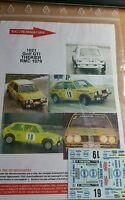 DECALS 1/43 REF 1021 VW VOLKSWAGEN GOLF GTI THERIER RALLYE MONTE CARLO 1979