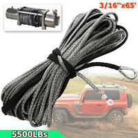 3/16  65 Inch 5500LBS Synthetic Winch Rope Cable Line + Sheath for ATV      ∏