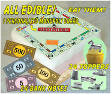 MONOPOLY Cake Topper (8in) & 24 Bank Notes & 24 Counter Cake Toppers ~PRE-CUT~