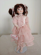 "Porcelain Doll Ballerina 12"" Creazioni Marigio w/stand Vintage Excellent Cond"