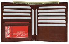 RED GENUINE LEATHER Mens Hipster European Wallet 12 Card Holder Bifold Wallet