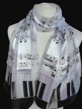 Schal mit Noten Klavier Tasten Tastatur Streifen weiß schwarz Damen Herren 063 w