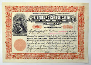 CO. Pittsburg Cosonlidated Mining, Milling & Tunnel Co., 1906 I/U Stock Cert XF