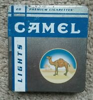 Empty Vintage Camel Lights Premium Cigarettes Tin Holds 20 - RARE