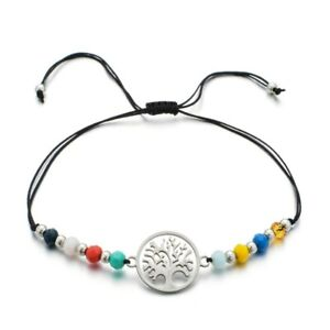Tree Of Life Adjustable Braided Rope Crystal Beads Bracelet Anklet Yoga Charm uk
