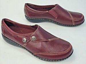 Clarks Bendables Ashland Lane Loafers, Women Sz 10 W (wide) Burgundy Leather EUC