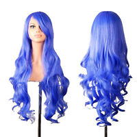80CM New Anime Wigs Cosplay Costume Blue Long Curly Wavy Lady Synthetic Hair Wig