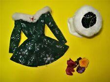 Vtg Barbie 90s Tagged Doll Clothes Green Velvet Santa Baby Set B Label