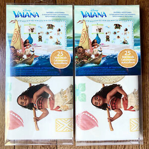 2Pk Disney Moana Wall Decals 50 Roommates Removable Vinyl Stickers Bedroom Mural