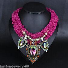 Crystal Flowers Bead Statement Woman's Bib Chain Choker Pendant Necklace Jewelry