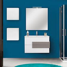 Mobile bagno moderno 100 cm bianco lucido con top in resina e specchio e pensili