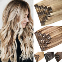 170G+ REAL THICK Double Weft Full Head Clip In Human Hair Extensions Balayage US