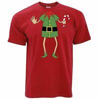 Mens Funny Christmas T Shirt Xmas Santa's Elf Waving Silly Costume Tshirt Jolly