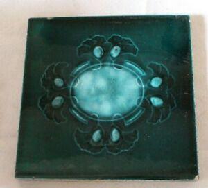 english COLOURFUL edwardian art nouveau  LILY PAD DESIGN antique vintage tile