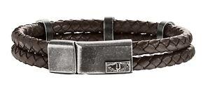 Police Unisex Twinlane Brown Leather Bracelet 25715BLC/02-L
