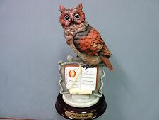 New Leonardo Collection Owl Figurine Sitting on a Book Wood Base Owls