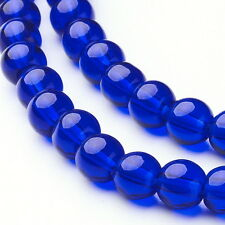 """Blue 6mm Round Transparent Glass Beads (Two 11"""" Strands)"""