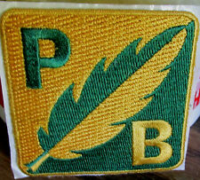 Vint P B Yellow & Green Feather Boy Scouts Police Explorer Insignia Badge Patch