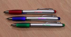 3 Stück LED-Kugelschreiber von innen farbig beleuchtet inkl. Gravur