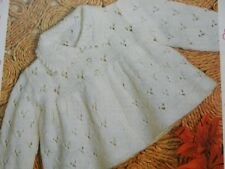 """Knitting Pattern Baby Boy Girl Lacy Matinee Coat Cardigan 4 Ply 18-19"""" Vintage"""