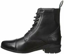 Ariat Womens HERITAGE 4 paddock Leather Almond Toe Ankle Combat, Black, Size 9.5