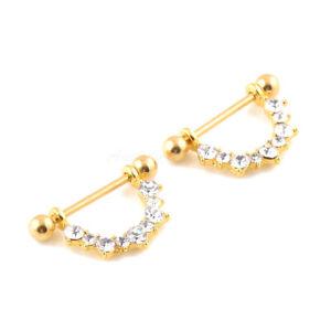 2X Nipple Rings Clear CZ Filigree U Drop Gold Plated shield Barbell Barbells