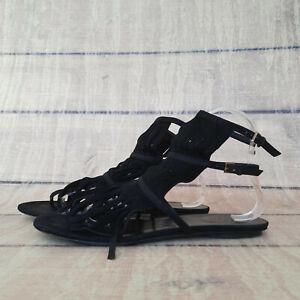 Gucci Suede Black Sandals Flip Flops 37 1/2 37.5 US 7 Fringe T strap thong