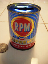 calfifornia Oil Co. mini RPM oil can bank shiney cobalt blue great advertising-C