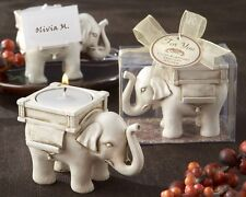 Lucky Elephant Antique Ivory-Finish Tea Light Holder Candle Wedding Favor Party