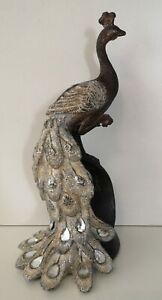 Deko Figur Vogel Pfau silber Glitzer braun orientalisch Dekoobjekt Skulptur