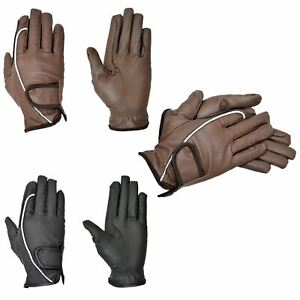 Ladies Mens Horse Riding Gloves - Cotton Leather Thinsulated Apparel for Winter