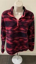 Areopostale Fleece Pink Southwest Top  Long Sleeve Zip Collar Woman Size Small