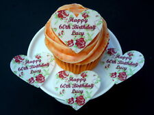 20 PERSONALISED BIRTHDAY HEARTS FLORAL EDIBLE CUP CAKE RICE WAFER PAPER TOPPERS