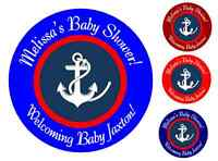 24 NAUTICAL PERSONALIZED ANCHOR BABY SHOWER PARTY STICKERS FAVORS LABELS ROUND