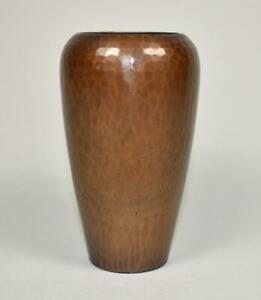Vintage Roycroft Arts & Crafts Vase Copper Hammered Original Patina