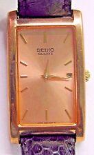 Vintage Gents or Lds Seiko Date Quartz Pink Plated Wrist Watch. Case 39 x 22 mm