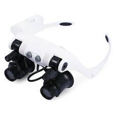 2 LEDs Headband Magnifier Lamp Jeweler Light Magnifying Glass 10/15/20/25X Lens