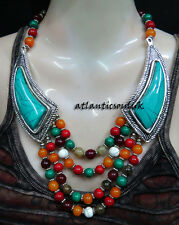 NE24 Turquoise multi Resin Stones women gift ethnic beautiful Necklace NEPAL