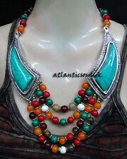 NE24 Turquoise multi Resin Stones women gift ethnic beautiful Necklace NEPAL