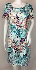 Ivanka Trump Multi-Color Abstract Floral Layered Look Short Sleeve Dress Sz 12